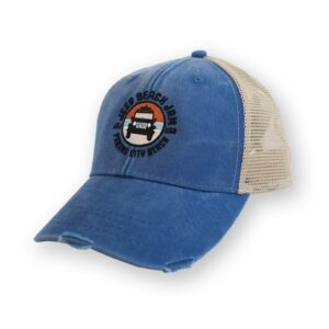 Distressed Embroidered Net Back Hat Blue - Circle Logo