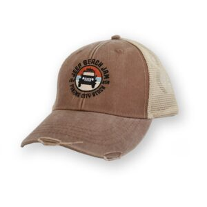 Distressed Embroidered Net Back Hat Brown - Circle Logo